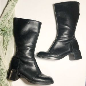 Vtg Martino Tall Black Leather Lined Winter Boot 8